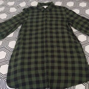 H&M Dark Green Check Print Shirt Dress